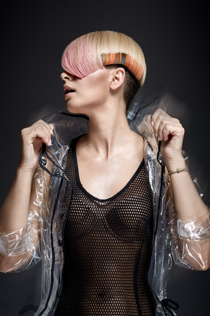hairpiece: Female model with trendy, coloring  haircut