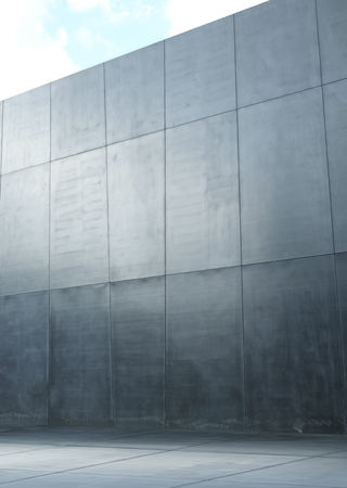 growing up: Image presenting a modern polish, concrete wall of squares Stock Photo