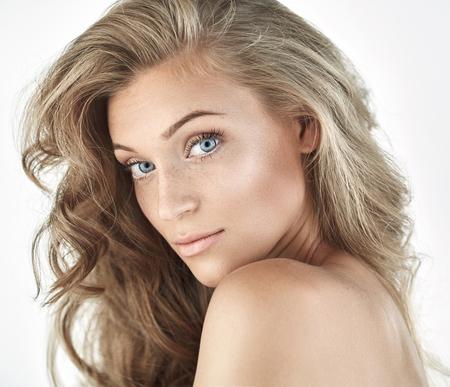 sensual woman: Portrait of a beautiful natural blond lady
