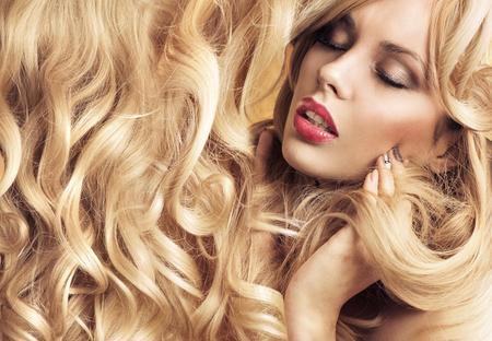potrait: Close-up potrait of a sensual young blond woman