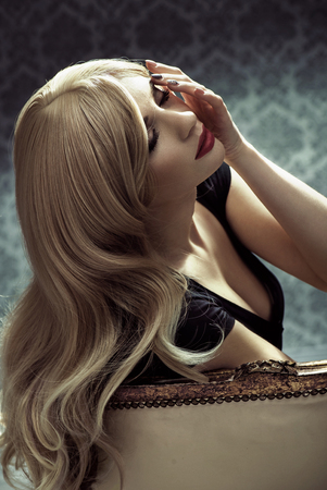 glamour hair: Portrait of a glamour blond lady with long, healthy, straight hair Stock Photo