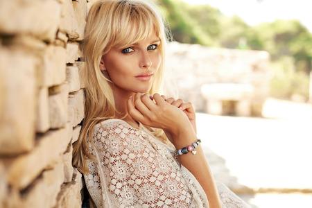 Portrait of a pretty blond woman 写真素材