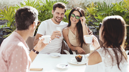 Portrait of a group of people in the coffee shop Stock Photo