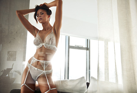 Portrait of a sensual young woman wearing sexy lace underwear