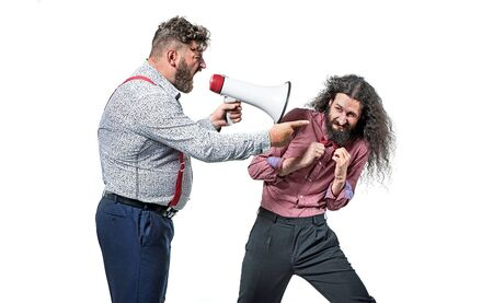 Angry boss yelling at his employee with a megaphone