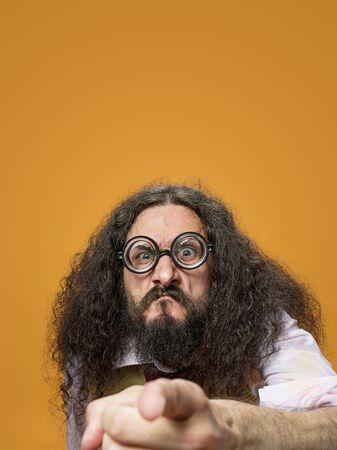 Cloesup portrait of a skinny, freaky nerd