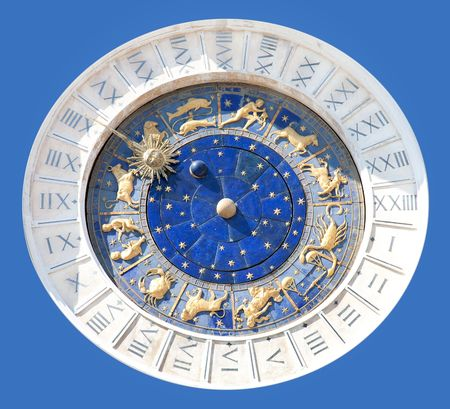 timekeeping: Astronomical clock isolated Stock Photo