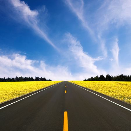ahead: Wide road