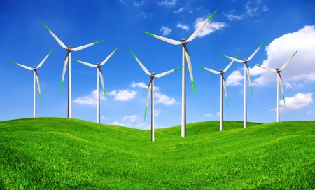 Eco energy - wind turbines farm photo