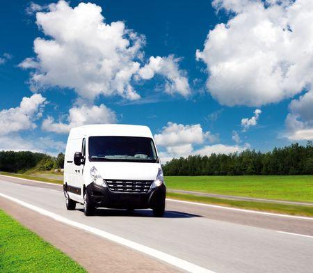 forwarding: Van de entrega blanco  Foto de archivo