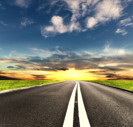 middle of the road: Sunny road