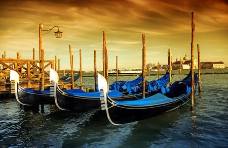 Gondola Parking, Venice - art toned picture photo