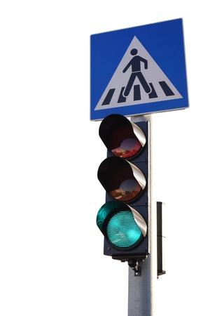 Green light, isolated on white background photo