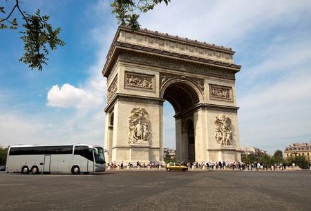 Square with Arc de Triomphe in Paris, France. photo