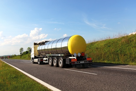 gas distribution: Fuel tanker truck (names removed)