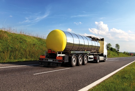 dangerous road: Oil transporting lorry on the road  Stock Photo
