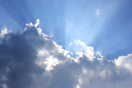 Beautiful sky with sunbeam photo