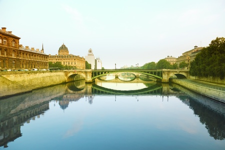 triumphal: Seine river and Bridge in Paris, France