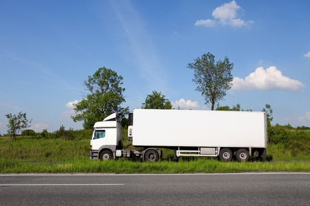 haulage: White truck with blank advertisement space