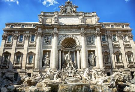 Baroque Trevi Fountain (Fontana di Trevi) in Rome photo