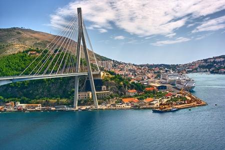 croatia dubrovnik: Bridge and port in Dubrovnik Stock Photo