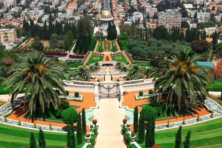 bahai: Beautiful Bahai Gardens in Haifa, Israel Stock Photo