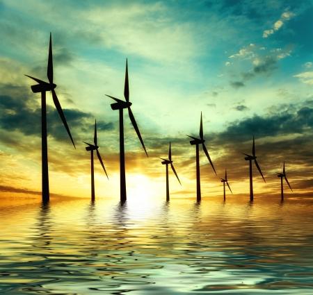 calentamiento global: alimentación ecológica, las turbinas eólicas