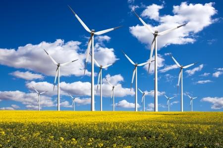 wind turbines: Power generating windmills Stock Photo
