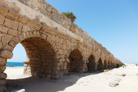 Ancient aqueduct at Caesarea  Israel  photo