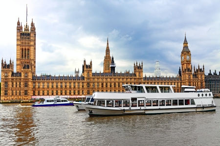 heritage site: London Houses of Parliament with Thames river
