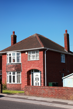 terraced: Typical redbrick british house