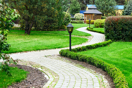 garden lawn: Beautiful Spring Garden Stock Photo