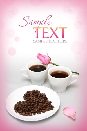 Valentines card with coffee-beans and rose Stock Photo