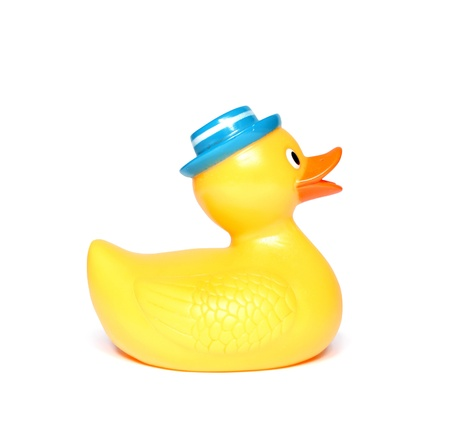 Orange toy duck isolated  Stock Photo