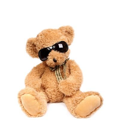 Teddy beer in zonnebril Stockfoto