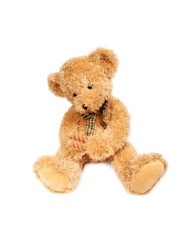 Virus risico, besmettelijke gevaar, Teddy beer met pillen Stockfoto