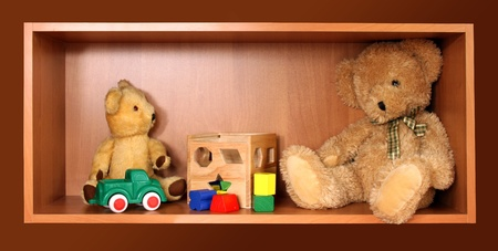 Cute bears on the wooden toy shelf Stock Photo - 10013021