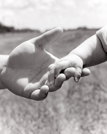 Parent holding little hand Stock Photo