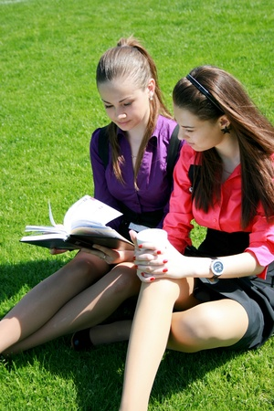 Two students relaxing on the grass