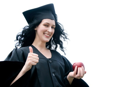 Young laughing student in gown with okay photo