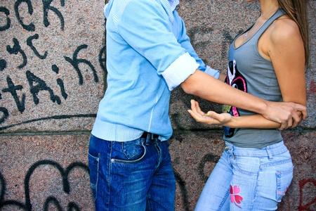 Couple of teenagers quarrels