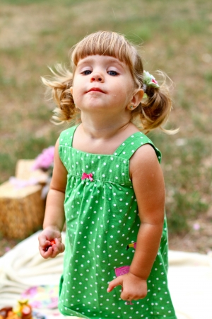 Caucasian little girl in the park