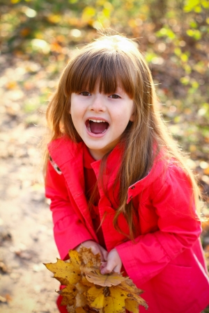Little happy girl with maple leaves in autumn forest Stock Photo - 16270695
