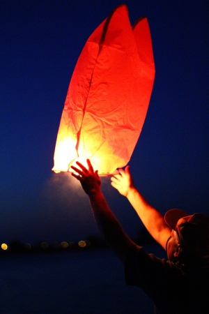 Man holding a chinese lantern