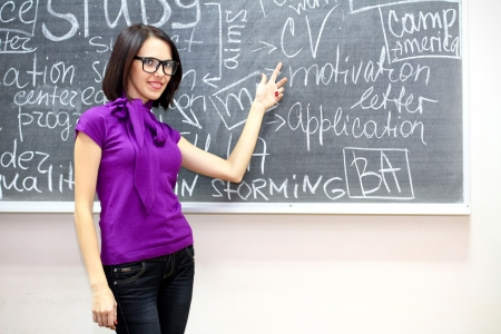 Young caucasian woman near the blackboard photo