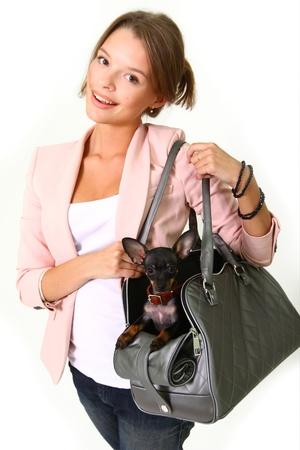 Charmante lachende vrouw met Chihuahua in een grijze zak