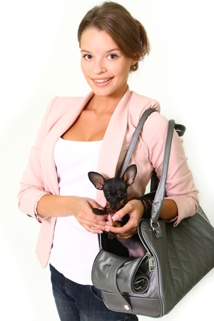 Smiling young woman with black Chihuahua in a gray leather bag Stock Photo - 17213367