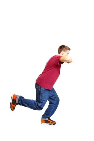studio b: Portrait of breakdance style dancer posing isolated on white background Stock Photo