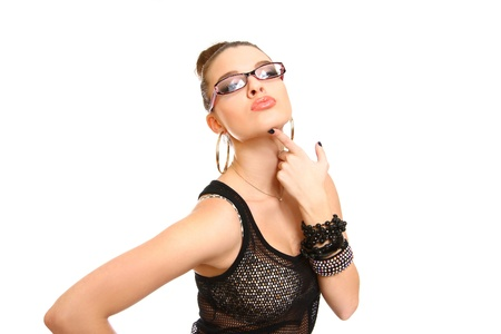 Seductive brunette girl with glasses posing Stock Photo - 17850913