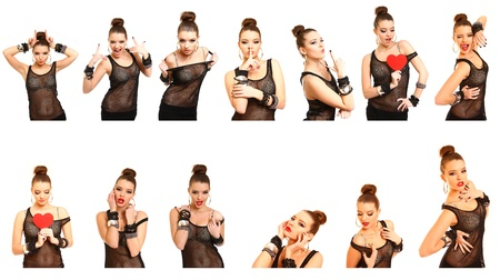 Collage of photos with seductive young woman photo